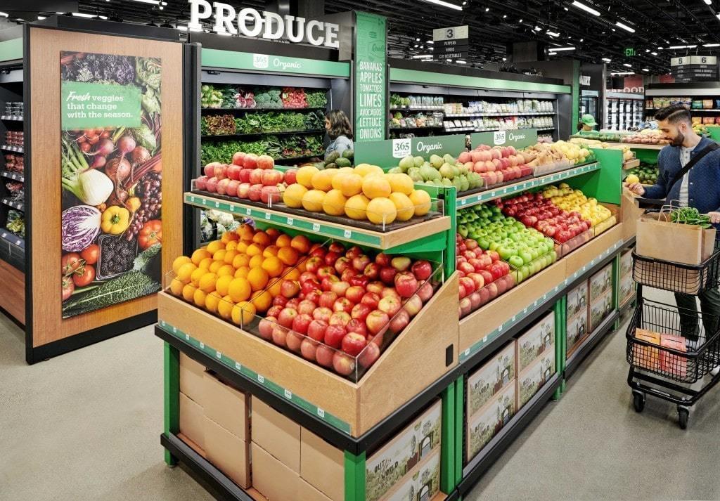 아마존 고 식료품점(Amazon Go Grocery) 과일 전시 모습, Amazon Go Grocery fresh produce, Imae from Amazon