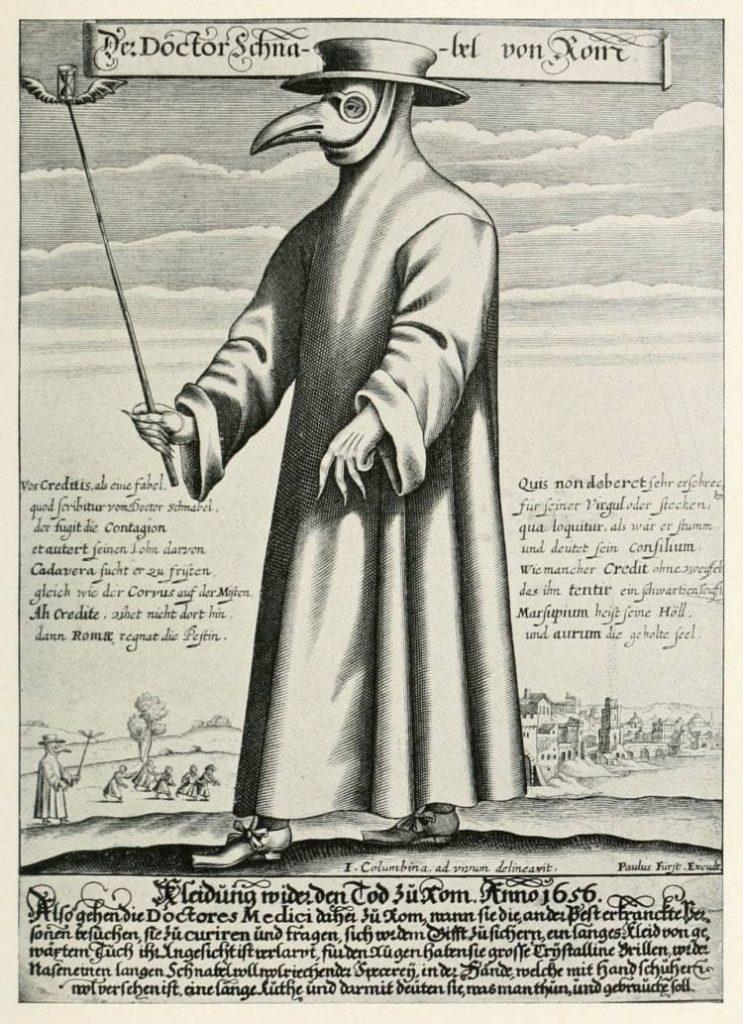 17세기 전염병을 치료하는 의사 복장, a plague doctor in seventeenth-century Rome, His nose-case is filled with herbal material to keep off the plague
