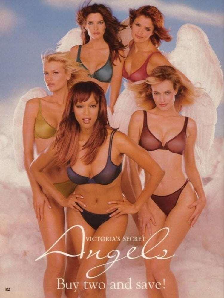 1997년 Helena Christensen, Karen Mulder, Daniela Peštová, Stephanie Seymour 및 Tyra Banks가 출연한  빅토리아 시크릿 'Ange' 컬력션