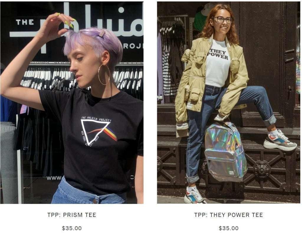 성별 없는 의류 전문 판매하는 뉴욕시 상점인 Phluid Project 온라인 페이지 중 일부