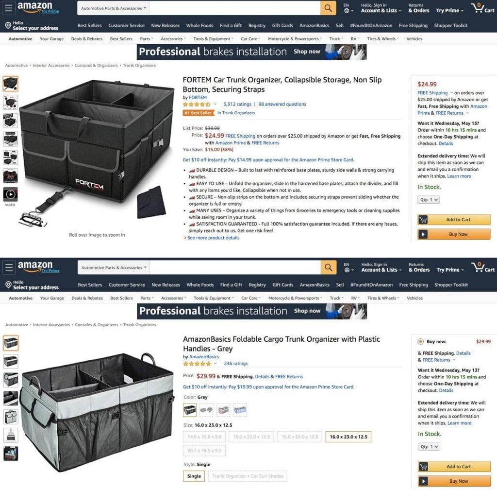 아마존 마켓플레이스에서 판매중인 Fortem 자동차 트렁크 정리함(car-trunk organizer)(위쪽)과 아마존이 자료를 훔쳐 개발, 판매하고 있는 아마존 PB 상품(아래)