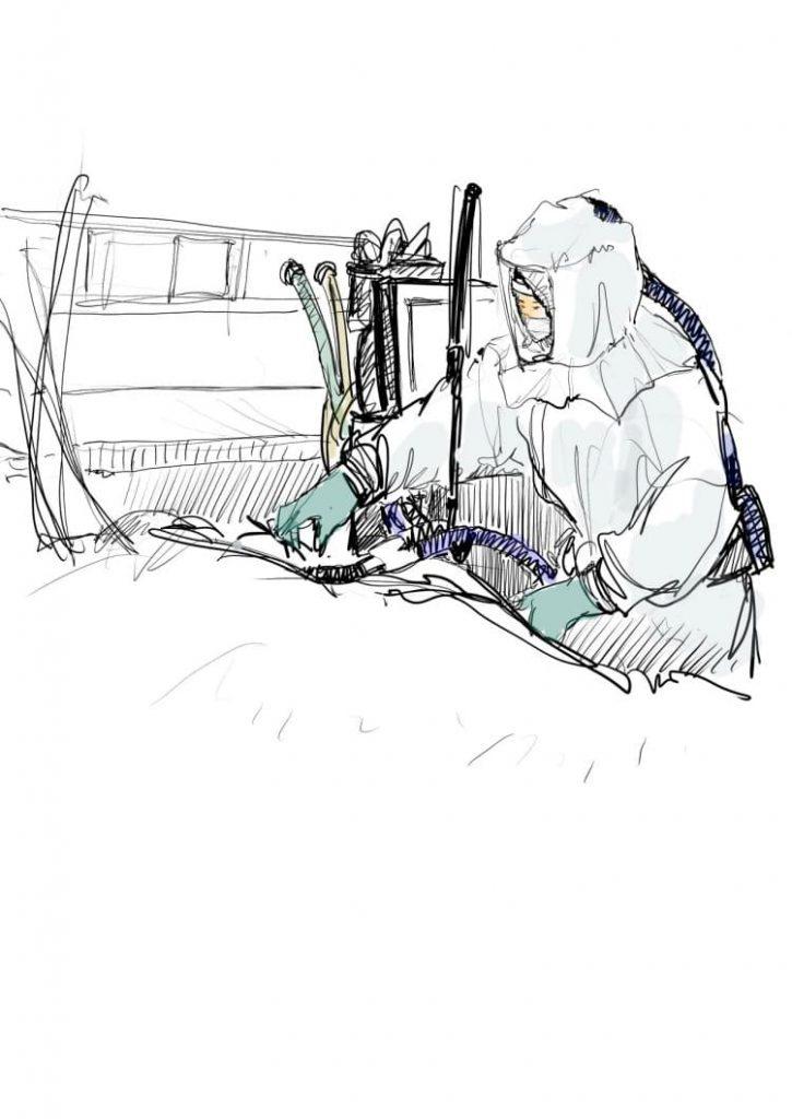 오영준님이 그린 중환자실에서 전동식 호흡장치(PAPR)로 무장하고 환자를 돌보는 간호사, 이미지 출처,페이스북 간호사 이야기.