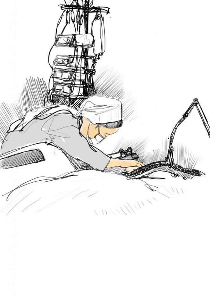 오영준님이 그린 중환자실에서 환자를 돌보는 간호사, 이미지 출,페이스북 간호사 이야기