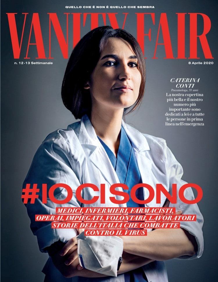 코로나 모델, 패션 매거진 베니티 페어 이탈리아 4월 8일자 표지를 장식한 폐 전문가, Fashion magazines Vanity Fair Italia Cover Image
