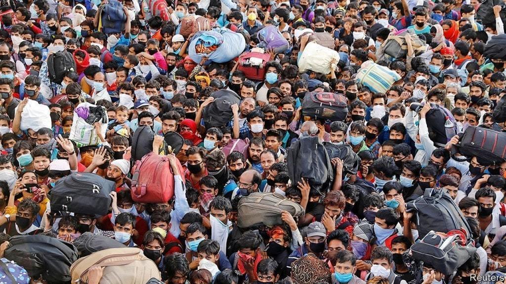 코로나19 대응, 코로나 봉쇄를 피해 도시를 떠나는 사람들, image from Economist
