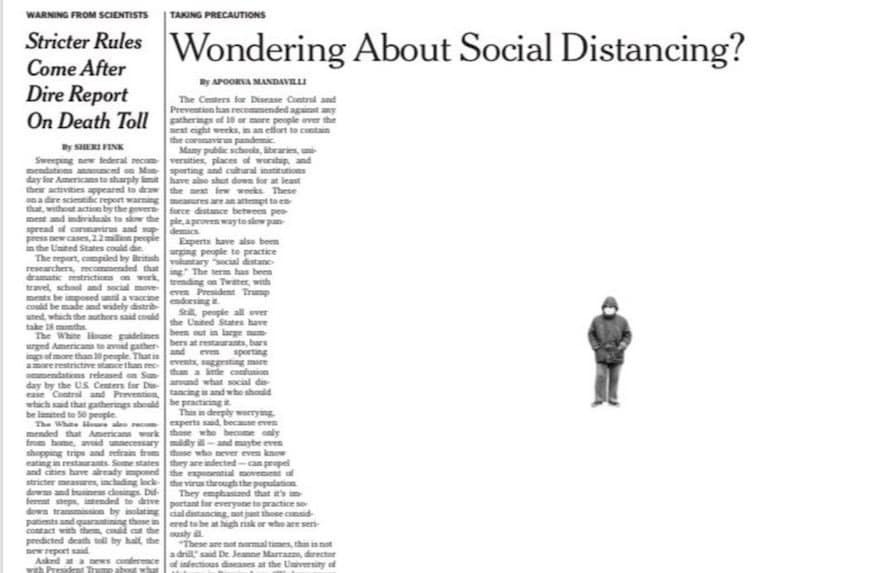 코로나19 풍경, 사회적 거리두기를 강조하는 유욕타임지 기사