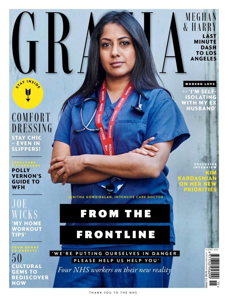 패션 매거진 Grazia의 표지를 장식한 Janitha Gowribalan, 35, is an anaesthetist and intensive care doctor at Whittington Hospital, north London