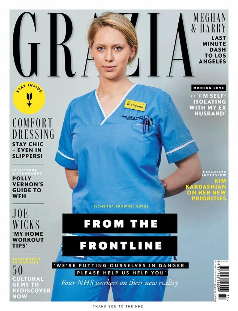 패션 매거진 Grazia의 표지를 장식한 Richenda Browne, 29, is a senior staff nurse in the emergency department at King's College Hospital NHS Foundation Trust