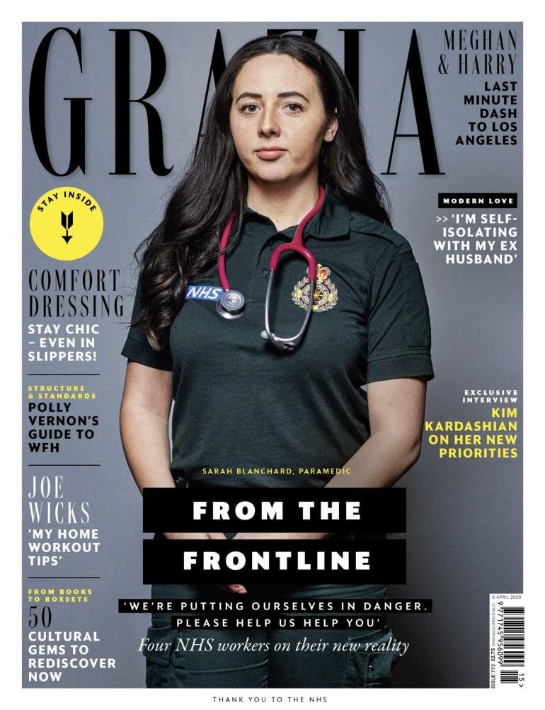 패션 매거진 Grazia의 표지를 장식한 Sarah Blanchard, 27, is a paramedic in Essex