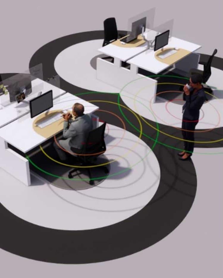 포스트 코로나 트렌드, 6피트 오피스, 책상에 앉은 직원과 방문 직원은 일정한 거리를 유지하도록 설계
