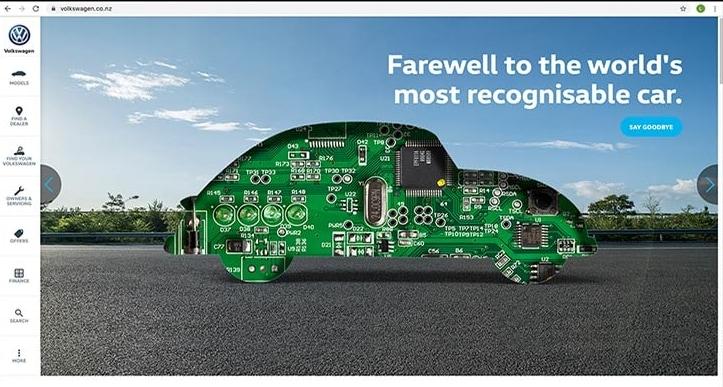 폭스바겐 비틀 고별광고 페이지, VolksWagen Beetle Farewell AD in Newzealand, Image from BrandingAsia