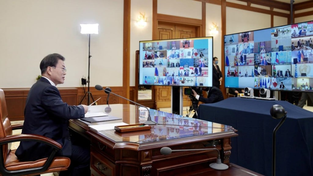 G20 정상 회담을 주재하고 있는 문재인대통령, 사진 출처, 청와대
