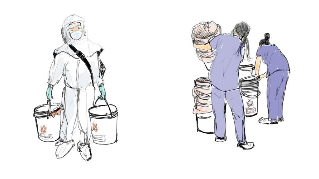 LA 타임즈에 소개된 오영준님이 그린 잡일을 하는 간호사들 모습