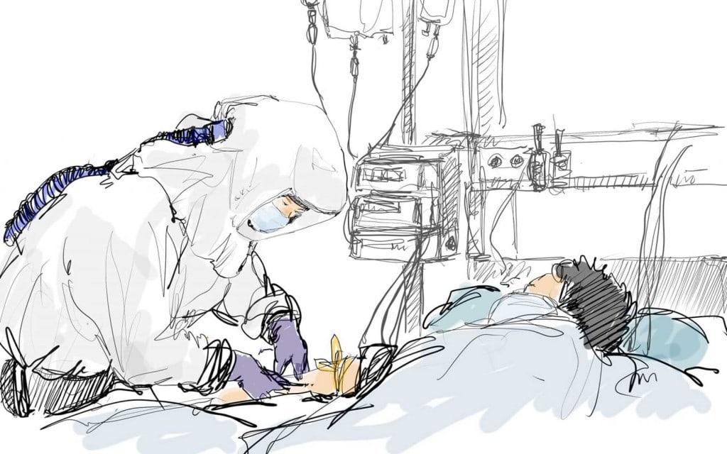 LA 타임즈에 소개된 오영준님이 그린 중화자실의 간호사