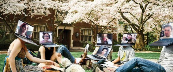 노트북으로 연결된 대학 캠퍼스의 학생들, Image from NewYorkMag