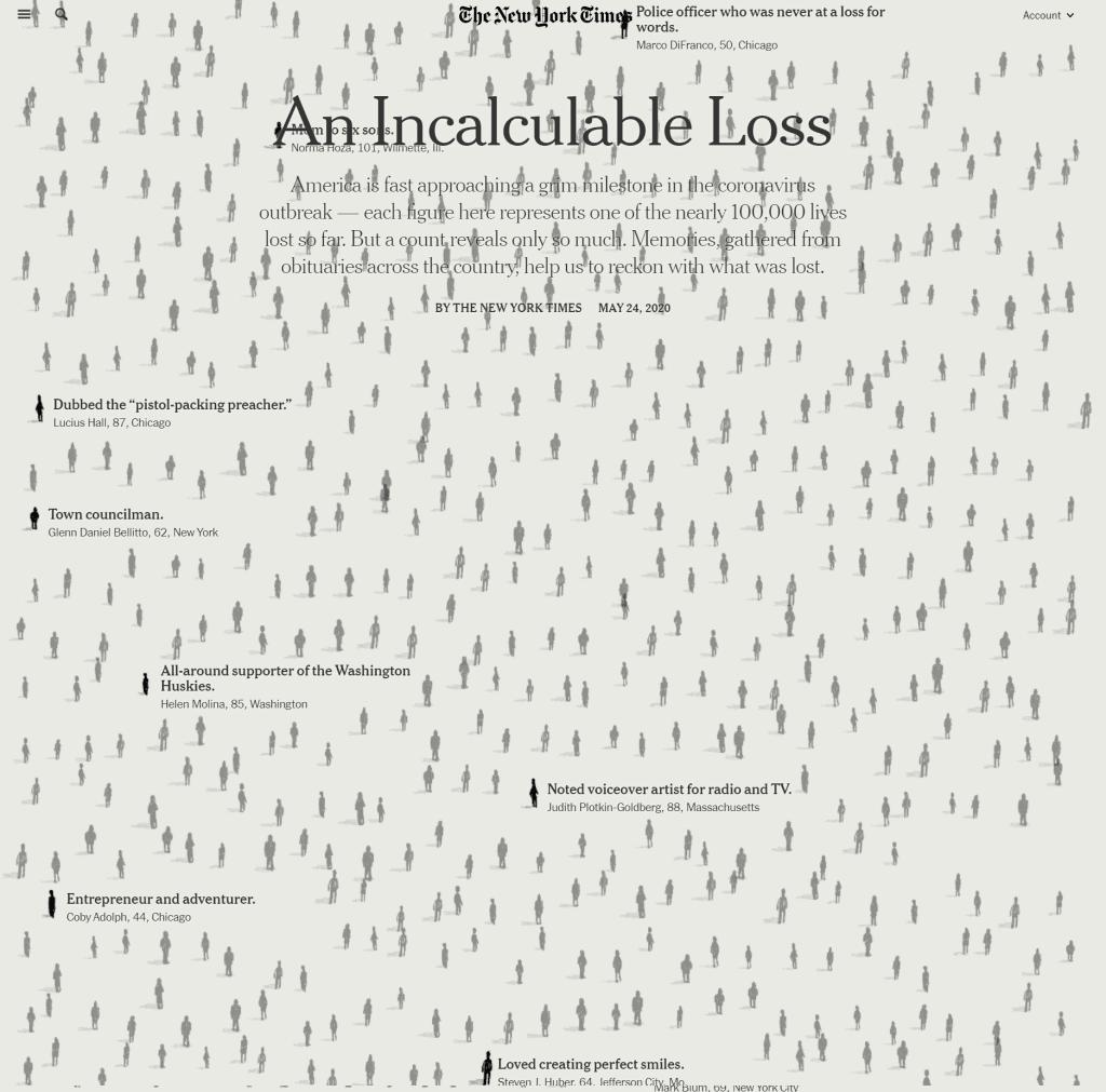 뉴욕타임즈 1면을 가득채운 1천명의 코로 팬데믹 사망자 명단을 기반으로 만든 인터낵티브 온라인 기사 캡춰, Image from NYT