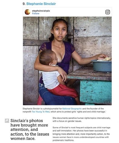 매셔블에서 사진가 스테파니 싱클레어(Stephanie Sinclair) 사진을 인스타그램 임베딩 형태로 사용한 모습