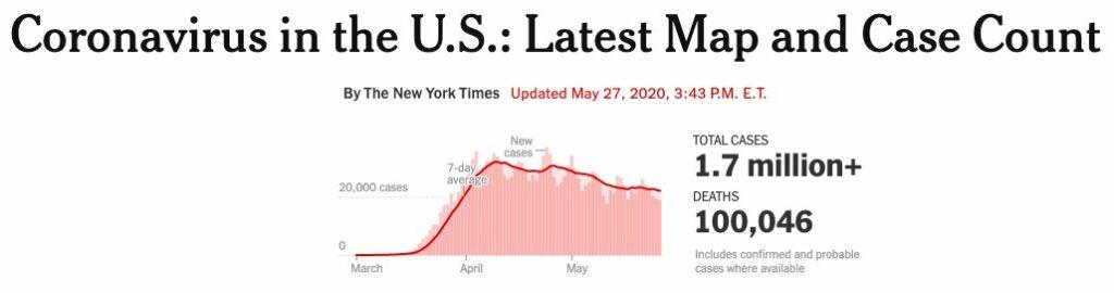 미국 코로나19 사망자 추이를 보여주는 뉴욕타임즈 그래프