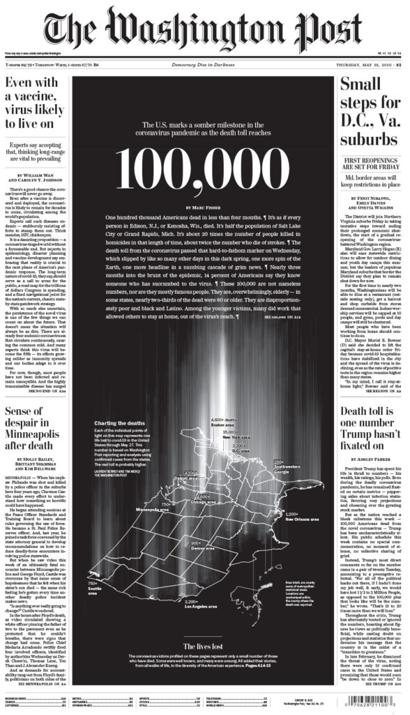 미국 코로나19 사망자 10만명을 애도하는 워싱톤포스트지 1면