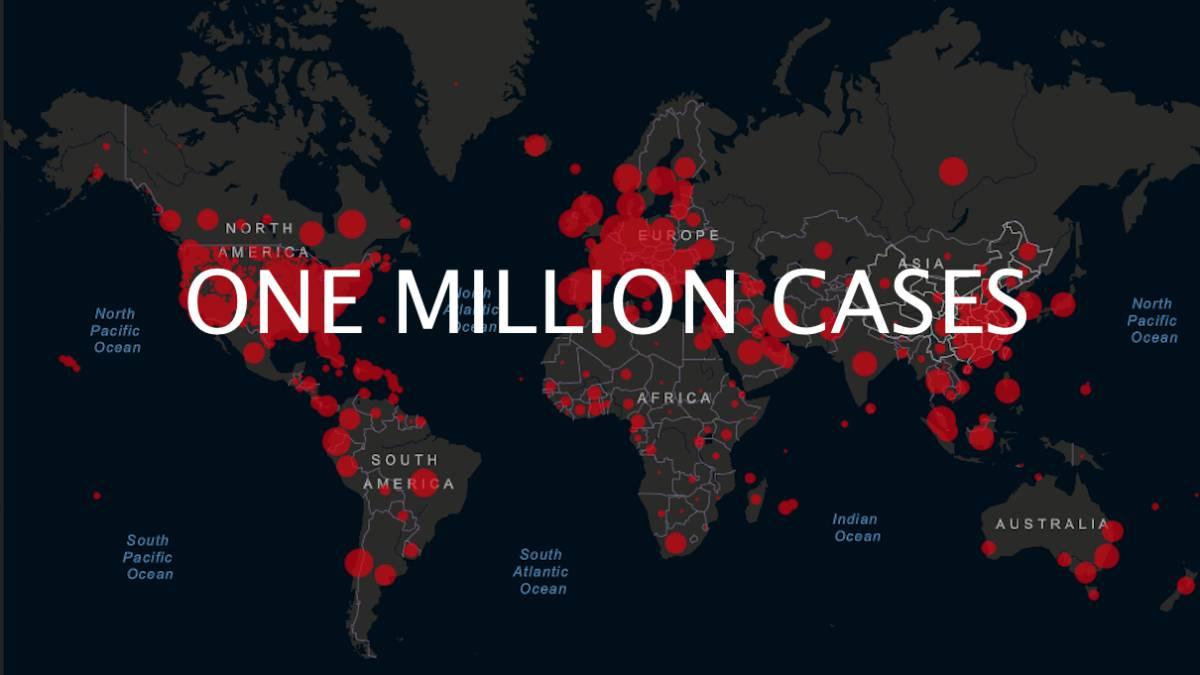 코로나19 확진자 1백만명 발생 그래픽 이미지