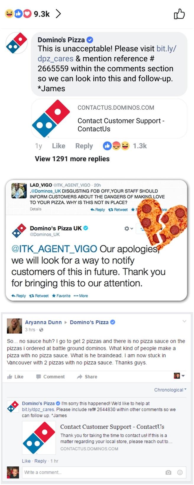 도미노피자 소셜미디어 위기 관리를 위해 사과 영상을 소개하는 트윗과 항의 고객에 사과하는 트윗, Domino pizza tweet