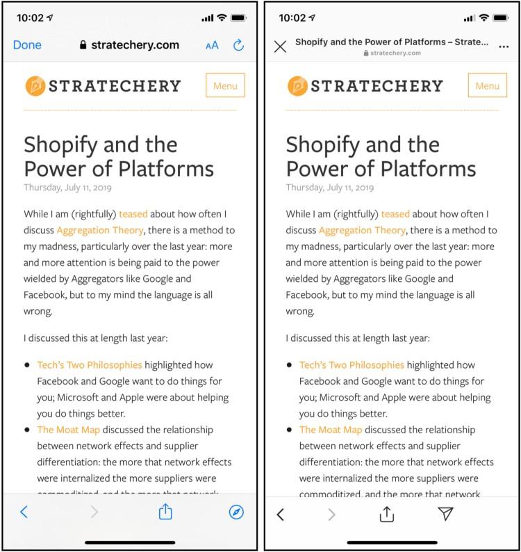 사파리 브라우저와 인스타그램에서 구현된 SFSafariViewController 웹 뷰를비교, shopify-webviews