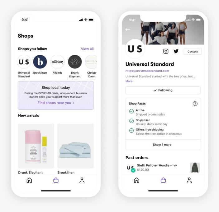 쇼피파이 숍앱, Shopify Shop App, Shop better(Universal Standard)