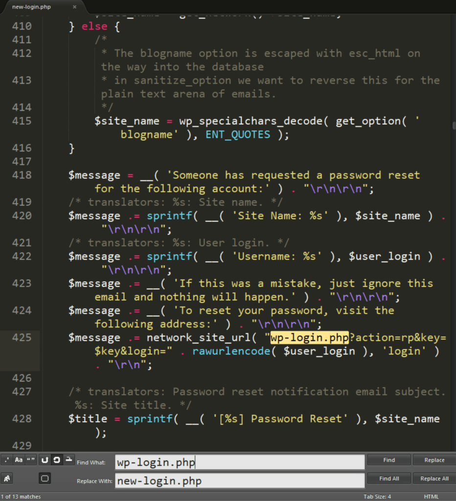 wp-login.php 파일을 new-login.php로 변경 후 편집 모습