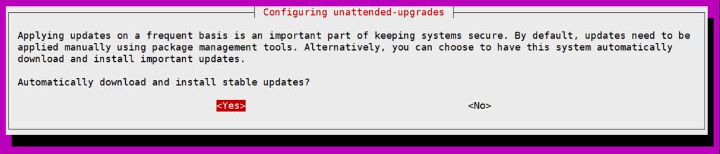 우분투 보안 자동 업데이트 설치 옵션, unattended-upgrades 사용 허용