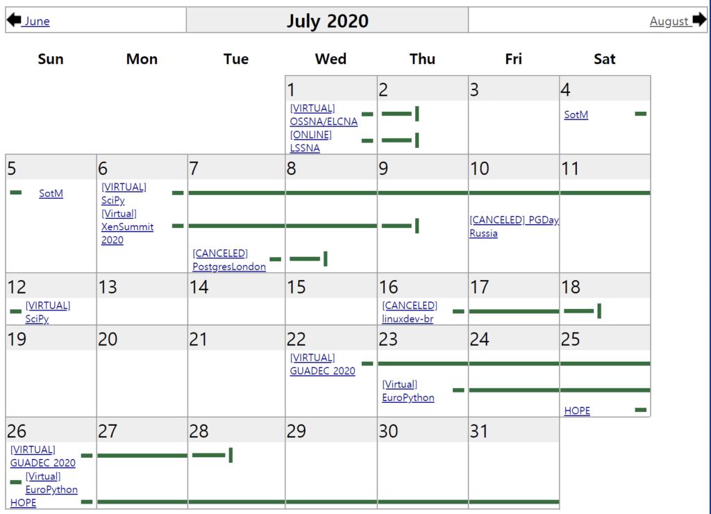2020년 7월 LWN 커뮤니티 캘린더(The LWN.net Community Calendar)