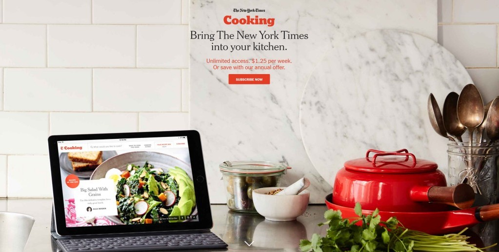 뉴욕타임스 쿠킹 구독페이지, The New York Times Cooking Subscription page full