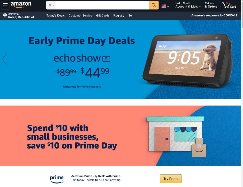 아마존 프라임 데이 2020 메인 페이지, 아마존 전략 제품인 에코 쇼를 반값에 판매한다고 광고, Amazon Prime Day main page02