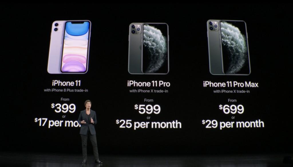 아이폰11 설명회 모습, 모델별 월 구입 비용 소개