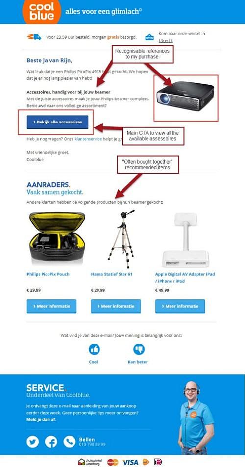 네덜란드 전자상거래 회사 Coolblue는 이메일을 통해 교차판매의 올바른 방법을 보여 준다, Image from Coolblue email