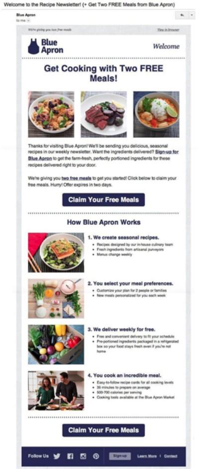 블루 에프런 웰컴 이메일에서 맛있는 레시피를 제안하고 있다, Image from Blue Apron email