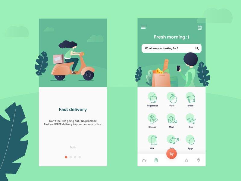 식료품 15분 배송을 주장하는 Weezy 앱 모습, Speedy grocery delivery