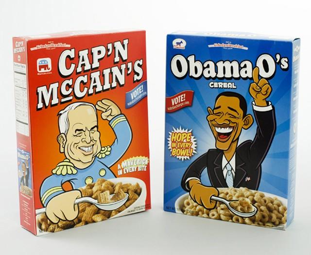 에어비앤비가 자금난을 벗어나기 위해 팔았던 오바마를 주제로 한 Obama O's와 존 매케인을 주제로한 Cap'n MacCain's