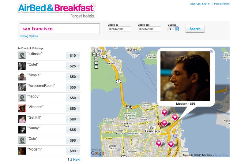 에어비앤비 사이트 초기 모습,  지도를 통해서 숙소를 검색하는 모습