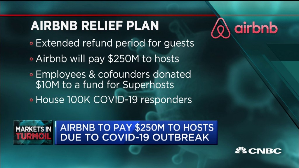 코로나 팬데믹으로 에어비앤비의 기존 예약 무료 환불 정책을 보도하는 CNBC