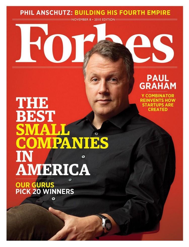 포브스, 와이 콤비네이터를 최고의 인큐베이터로 선정, 포브스 표지를 장식한 폴 그러엄 paul graham