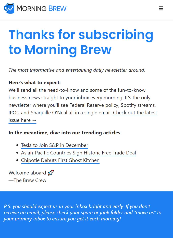 모닝브루(Morningbrew) 가입 감사 메세지, Welcome message, Image from Morning Brew.png