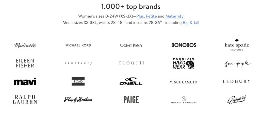 스티치 픽스 서비스에 참여하는 브랜드들, Image from Stitch Fix