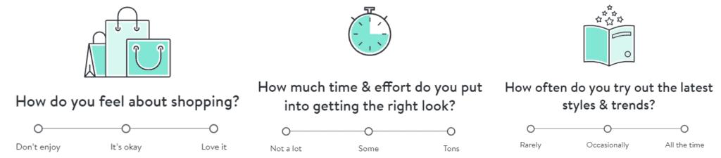 스티치 픽스 온라인 설문조사 시작부 질문들,, Image from Stitch fix