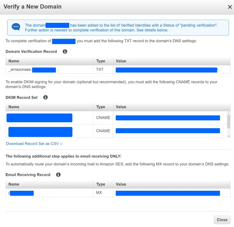 아마존 이메일 서비스, 도메인 등록 및 검증에 필요한 DNS 정보를 보여 주기