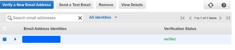 아마존 이메일 서비스, 발송용 이메일 등록 후 검증 완료된 모습