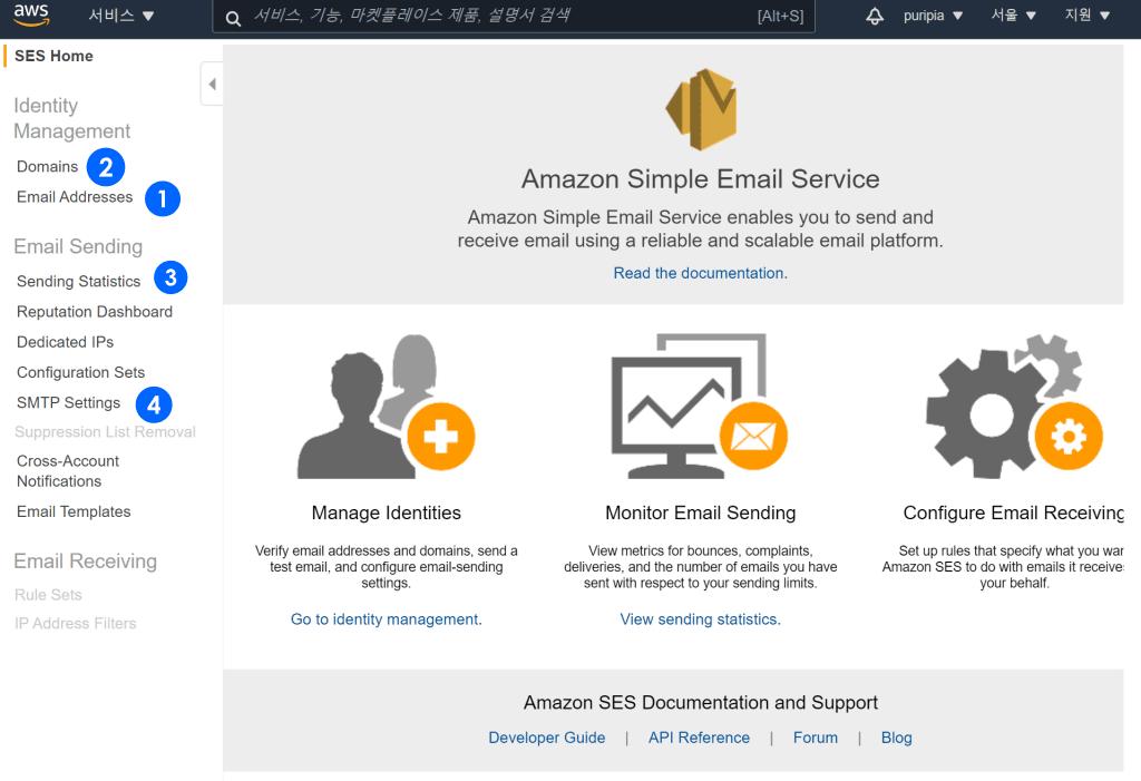 아마존 이메일 서비스 보드, Amazo Simple Email Service Board