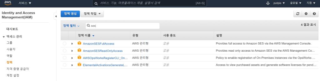 아마존 이메일 서비스, SMTP 사용자 계정 정책 검색