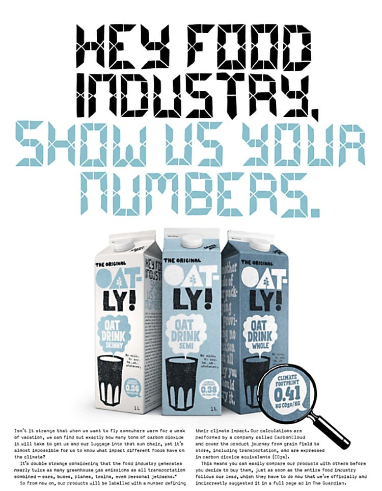 오틀리 사회적 캠페인, 2019년 3월 신문 광고, Hey Food Industry, Show Us Your Numbers, Oatly Campaign
