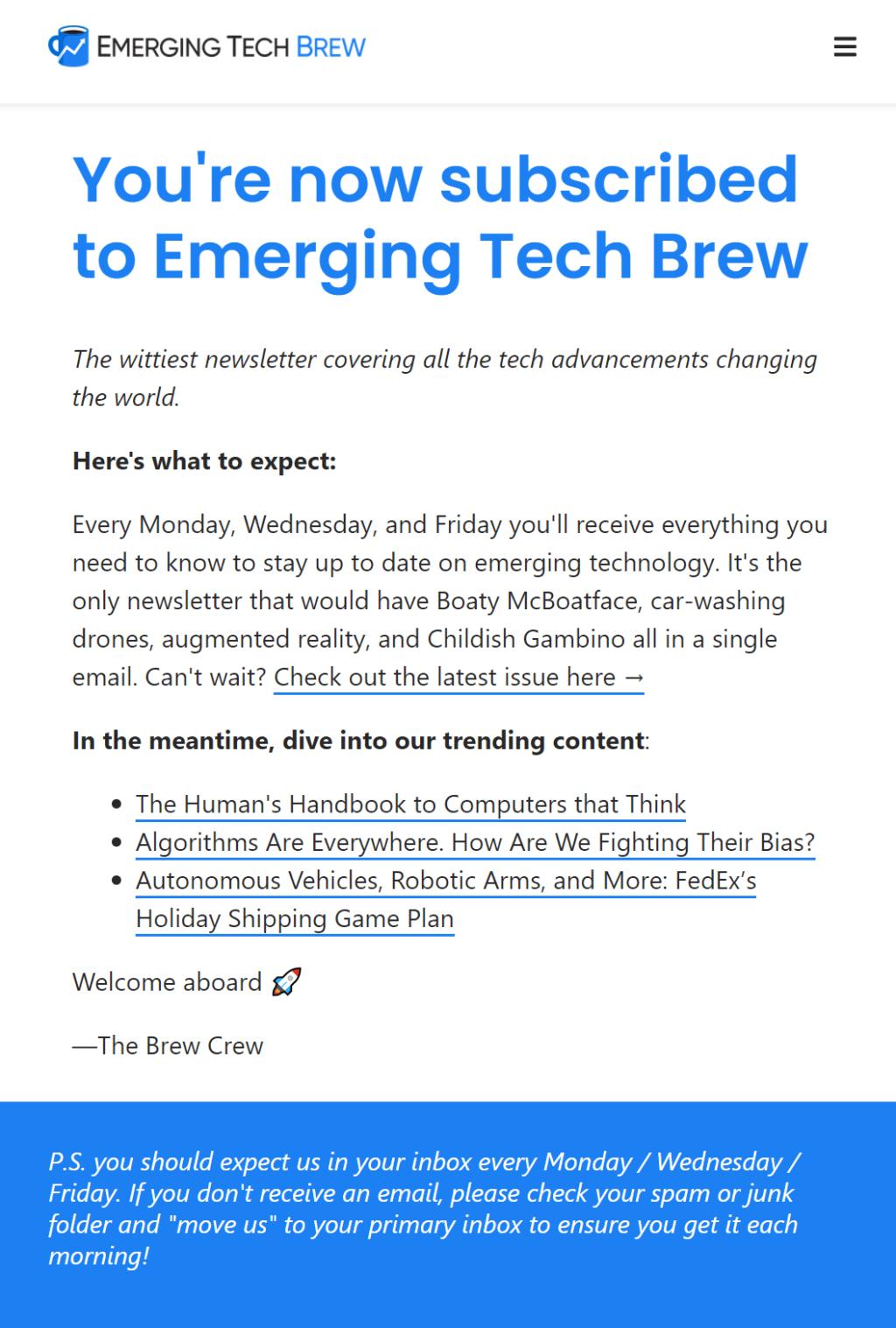 이머징 테크 브루(Rmerging Tech Brew) 가입 감사 메세지, Welcome message, Image from Morning Brew