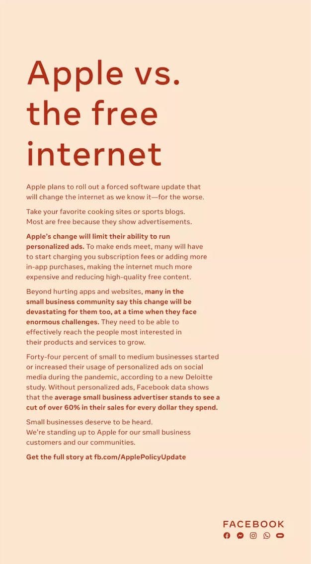 페이스북 애플 프라이버시 정책 비난 광고, Apple vs. the free internet, Facebook newspaper ad Apple privacy